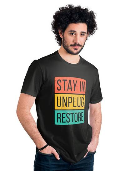 Restore Quirky T-Shirt India - Funky Motivational Pre-printed DTF Black T-shirt Printing in india